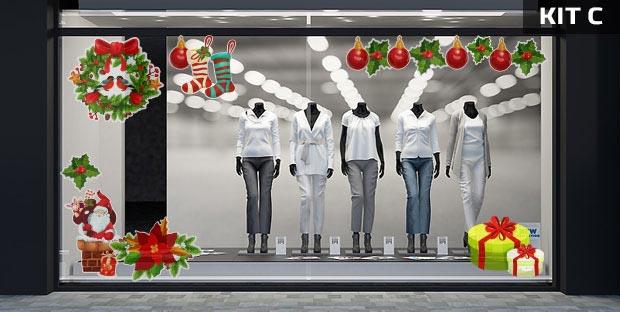 Adesivi natalizi per vetrine - kit C