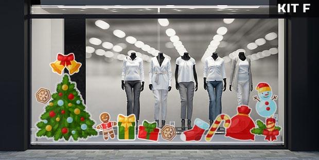 Adesivi natalizi per vetrine - kit F