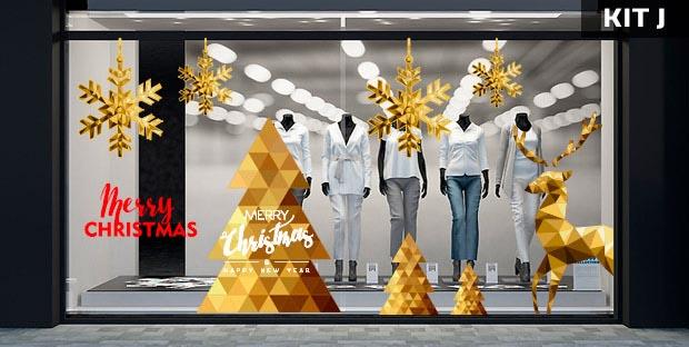 Adesivi natalizi per vetrine - kit J
