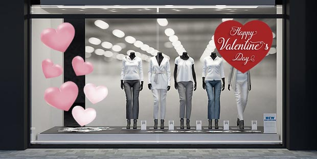 Kit Decorazione Vetrina - San Valentino